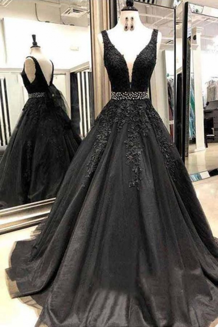 Black Lace Appliques Crystal Prom Dresses   Straps  Sleeveless Evening Dresses