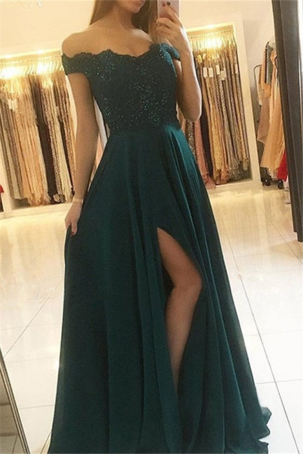 Glamorous Off-the-Shoulder Sleeveless Prom Dresses   Side Slit  Evening Dresses with Beads