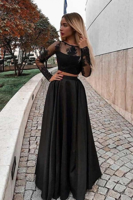 Glamorous jewel Lace Appliques Prom Dresses | Two Piece Longsleeves Evening Dresses