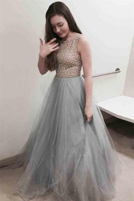 Glamorous Lace Appliques Jewel Prom Dresses | Sheer Sleeveless Evening Dresses