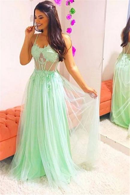 Elegant Spaghetti-Straps Sheer Quality Tulle Summer Sleeveless Prom Dress | Suzhou UK Online Shop
