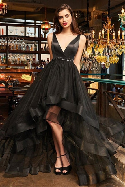 Black V-Neck Ruffles Crystal Prom Dresses Hi-Lo Open Back Sleeveless Sexy Evening Dresses
