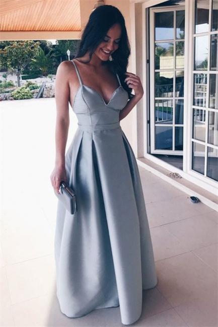 Glamorous Ruffle Backless Prom Dresses   Spaghetti-Strap  Sleeveless Evening Dresses