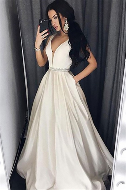 Glamorous V-Neck Belt Prom Dresses | Sleeveless Evening Dresses with Pocket