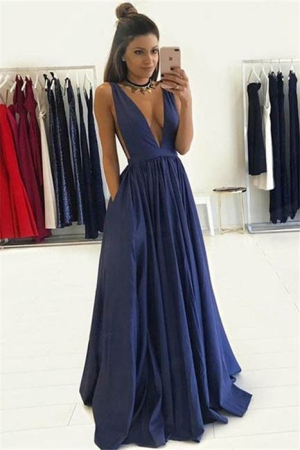 V-neck Sleeveless Prom Dresses | Ruffles  Evening Dresses with Pocket