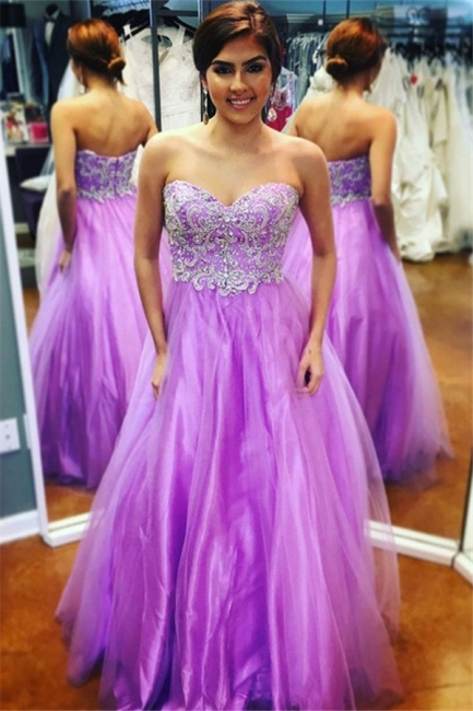 Glamorous Sweetheart Lace Appliques Prom Dresses | Purple Open Back Evening Dresses with Beads