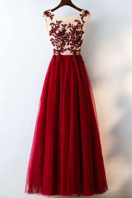 Lace Appliques Jewel Prom Dresses | Tulle Sleeveless Evening Dresses with Beads