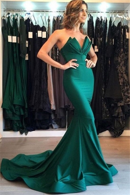 Green Sweetheart Bow-knot Prom Dresses Sleeveless Mermaid Ruffles Sexy Evening Dresses