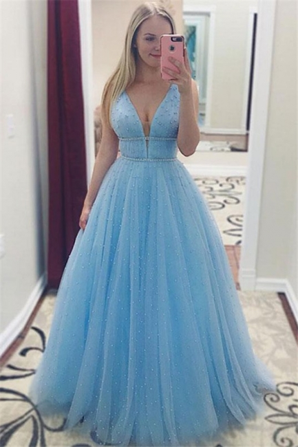 Glamorous Sleeveless Crystal Prom Dresses  Sleeveless Sexy Evening Dresses with Beads