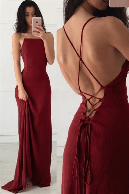 Lace-Up Halter Lace Appliques Prom Dresses |  Sexy Mermaid Sleeveless Evening Dresses