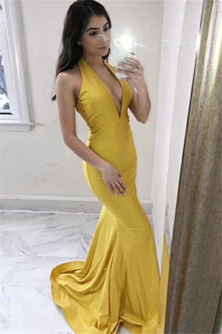 Charming Yellow Sleeveless Prom Dresses Mermaid  Popular Sexy Evening Dresses