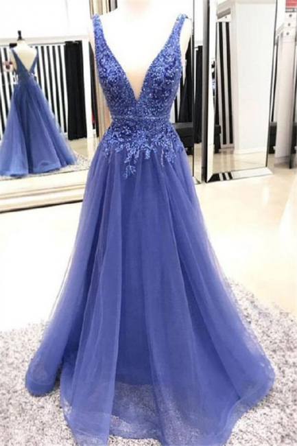Lace Appliques V-neck Beads Sleeveless Prom Dresses | Tulle  Evening Dresses