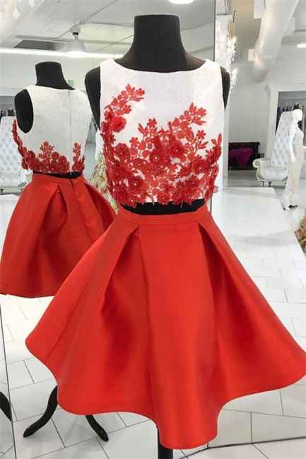 Beads Lace Appliques Jewel Homecoming Dresses | Two Piece Sleeveless Short Party Dresses