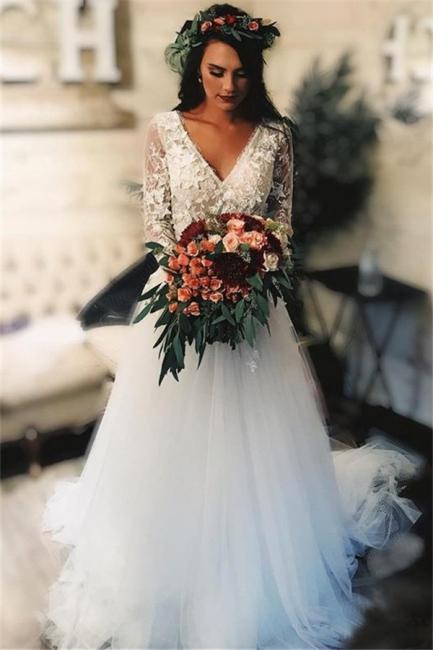 Gorgeous V-Neck Applique Wedding Dresses | Sheer Longsleeves Floral Bridal Gowns