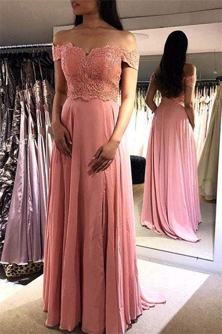 Glamorous Pink Off-the-Shoulder Prom Dresses | Lace Appliques  Sleeveless Evening Dresses