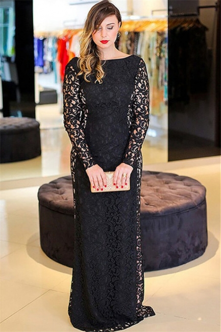 Hi-lo Lace Long Sleeves Lace Prom Dresses Plus Size Black Plus Size Sexy Evening Dresses