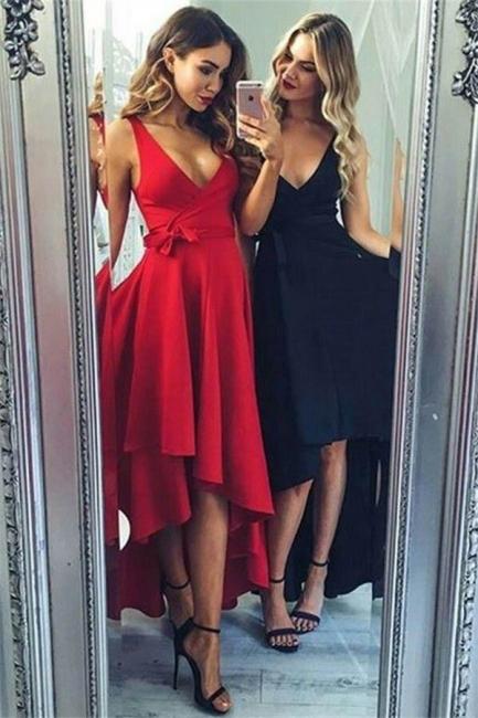 Glamorous Bowknot V-Neck Prom Dresses | Hi-Lo Ruffles Sleeveless Evening Dresses