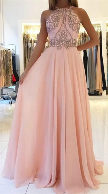 Romactic Pink Halter Applique Prom Dresses Sleeveless Open Back Sexy Evening Dresses With Crystal