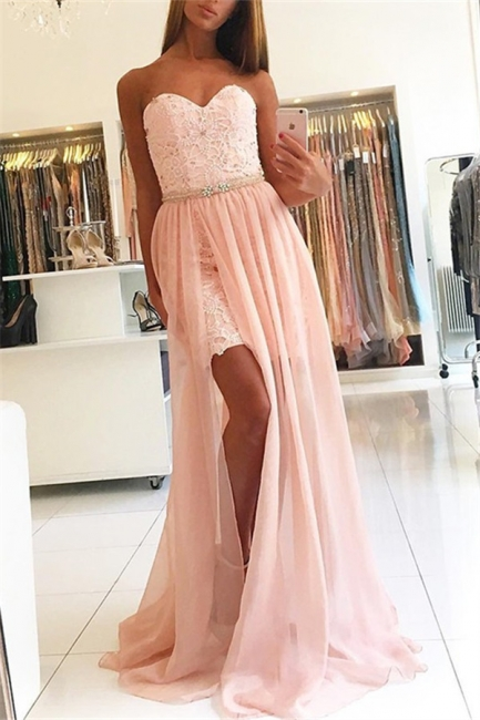 Pink Sweetheart Applique Crystal Prom Dresses Side Slit Lace Sexy Evening Dresses Over Skirt with Belt