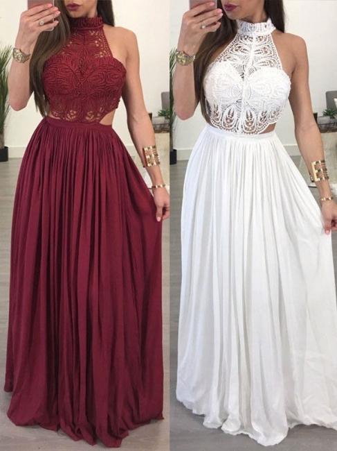 Lace Halter Sleeveless Ruffles Prom Dresses Popular  Sexy Evening Dresses