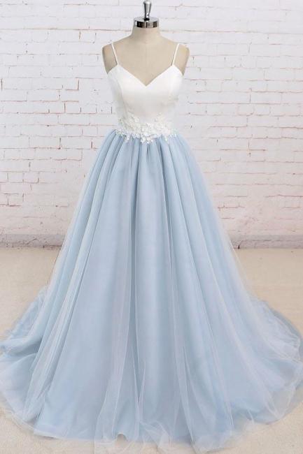 Glamorous Spaghetti-Strap Lace Appliques Prom Dresses | A-Line Sleeveless Evening Dresses