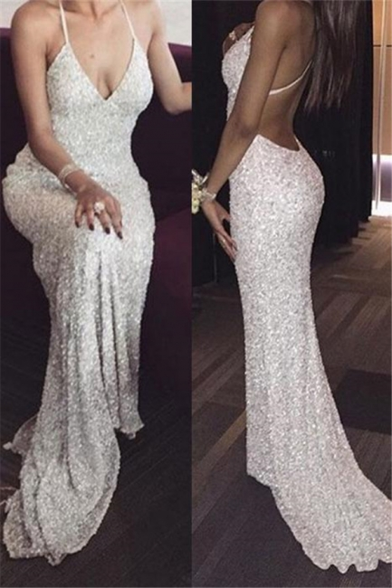 Sequins Halter Prom Dresses | Backless Sexy Mermaid Sleeveless Evening Dresses