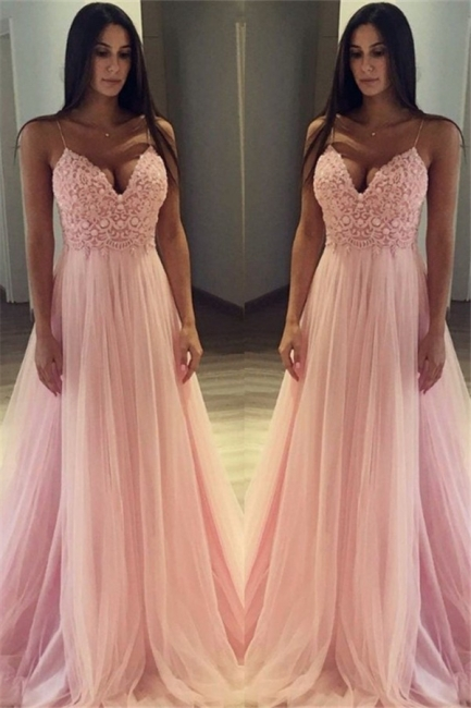 Pink Spaghetti Strap Applique Prom Dresses Sleeveless Tulle  Sexy Evening Dresses