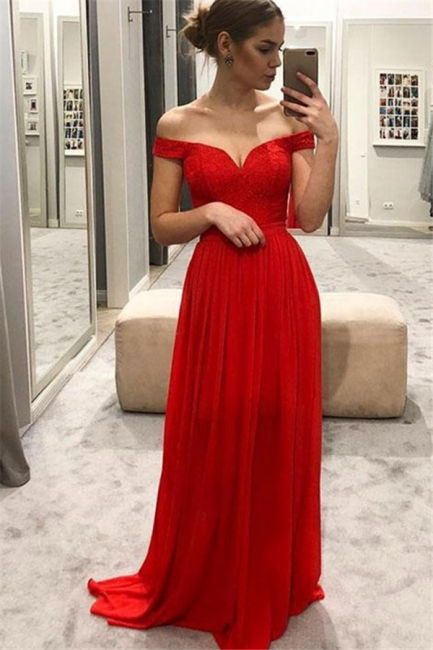 Red Off-the-Shoulder Lace Prom Dresses |  Sleeveless Evening Dresses