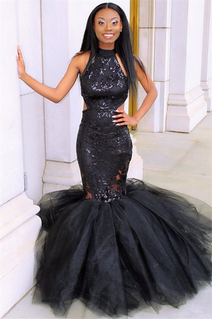 Sexy Blcak Halter Summer Sleeveless Applique Quality Tulle Trumpet Prom Dress | Suzhou UK Online Shop