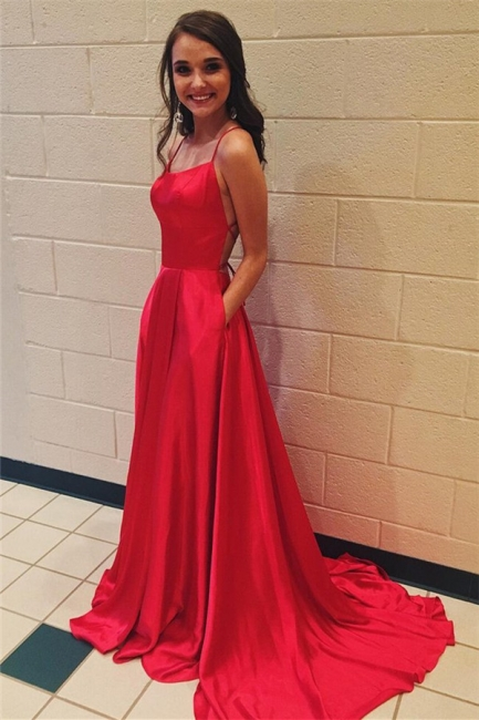 Glamorous Red Halter Lace-Up Prom Dresses | Sleeveless Evening Dresses with Pocket