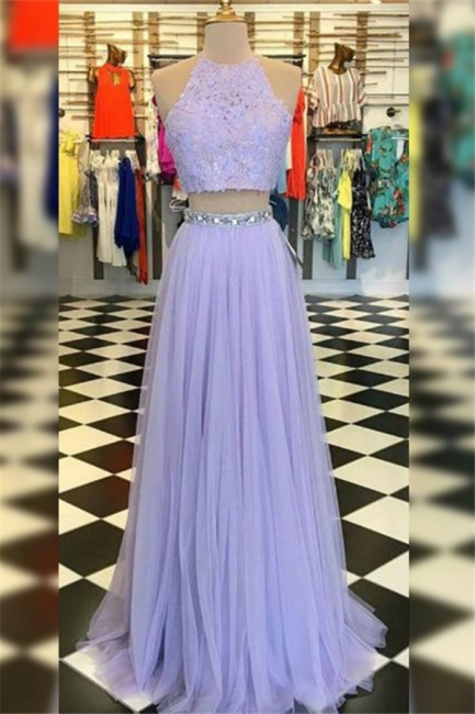 Glamorous High Neck Crystal Applique Prom Dresses Tulle Two Piece Sleeveless Sexy Evening Dresses