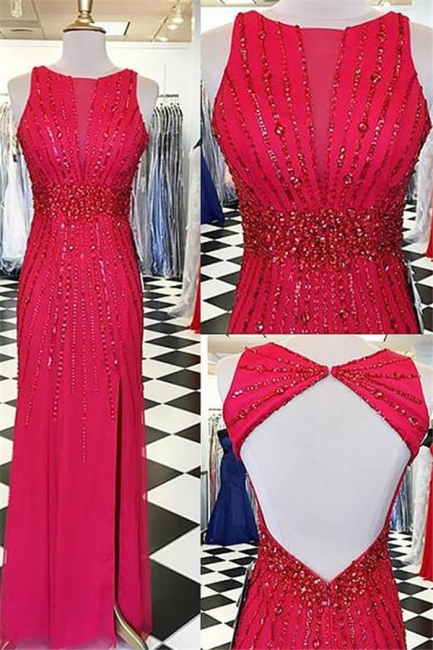 Glamorous Red Jewel Side Slit Prom Dresses | Open Back Sleeveless Evening Dresses with Beads