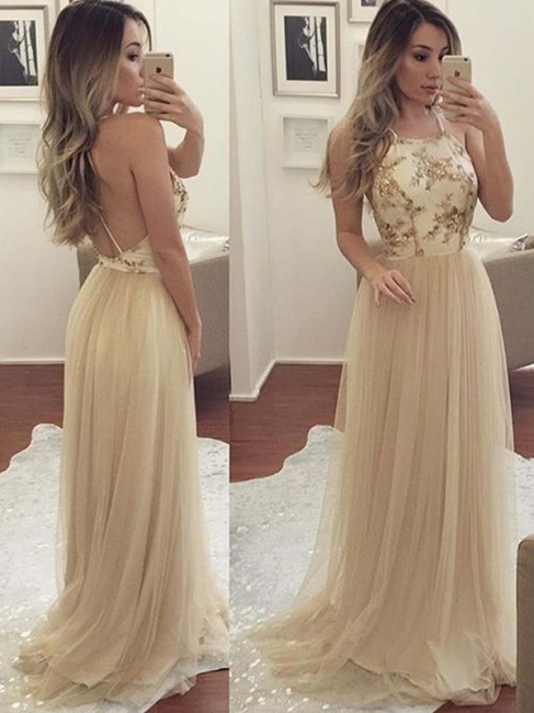 Glamorous Halter Applique Open Back Prom Dresses Sleeveless Sexy Evening Dresses with Crystal