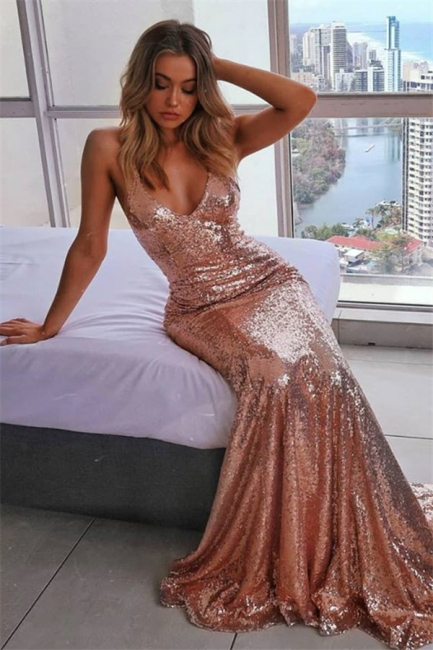 Sexy Spaghetti-Straps Sequins Summer Sleeveless Trumpet Prom Dress | Suzhou UK Online Shop