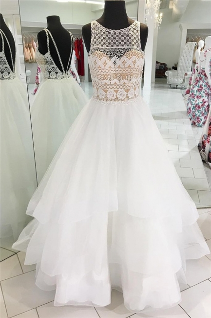 Glamorous Jewel Sheer Prom Dresses | Lace Backless Sleeveless Evening Dresses