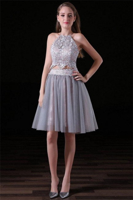 Glamorous Halter Lace Appliques Homecoming Dresses | Two Piece Lace-Up Sleeveless Short Party Dresses