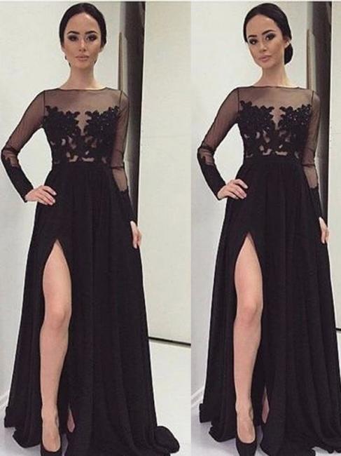 Black Long Sleeve Prom Dresses  Lace Bateau Side Slit Tulle Evening Dresses