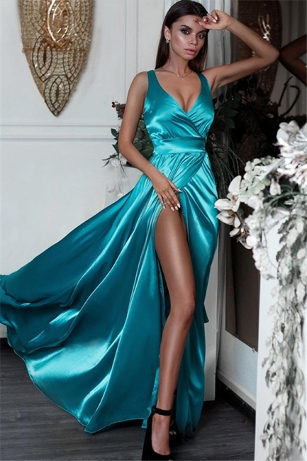Glamorous Side Slit V-Neck Prom Dresses Sleeveless Cheap Sexy Evening Dresses
