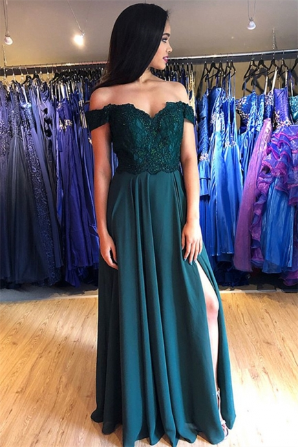 Glamorous Off-the-Shoulder Lace Appliques Prom Dresses   Side Slit Sleeveless Evening Dresses with Beads