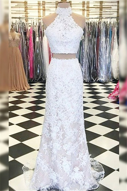 Glamorous Halter Applique Prom Dresses Side Slit Sleeveless Sexy Evening Dresses with Beads