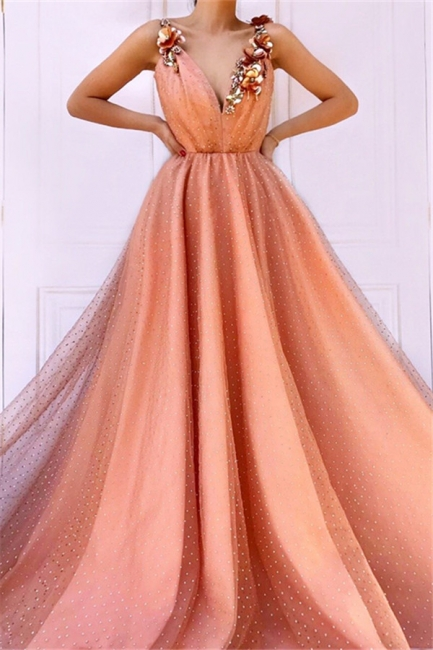 Orange Flower Appliques Straps Summer Sleeveless Quality Tulle Princess A-line Prom Dress | Suzhou UK Online Shop