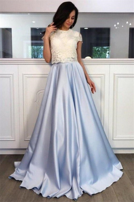 Lace Appliques Jewel Prom Dresses | Two Piece Ruffles Sleeveless Evening Dresses