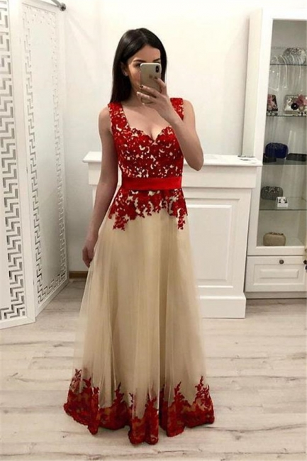 Glamorous Lace Appliques Straps Prom Dresses | Sleeveless Evening Dresses with Ribbons