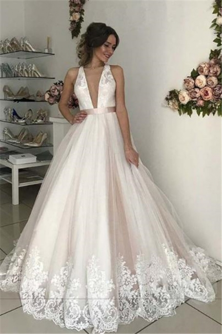 Lace Appliques Bowknot Halter Prom Dresses | Backless Sleeveless Evening Dresses