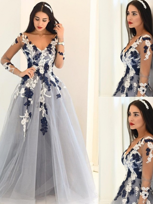 Glamorous Off-the-Shoulder Lace Appliques Prom Dresses |Simple Long Sleeves Evening Dresses