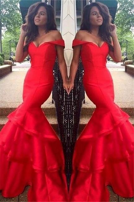 Glamorous Off-the-Shoulder Ruffles Prom Dresses | Sexy Mermaid Sleeveless Evening Dresses