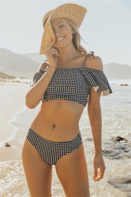 Sexy Black and White Grid Swimwear Seaside | Summer Popular  Bikini Online for Beach
