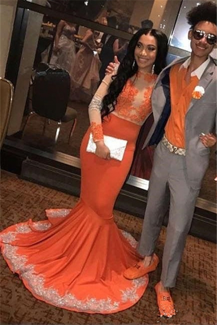 Trumpet Long Sleeves Appliqued Floor Length Prom Dresses | Suzhou UK Online Shop