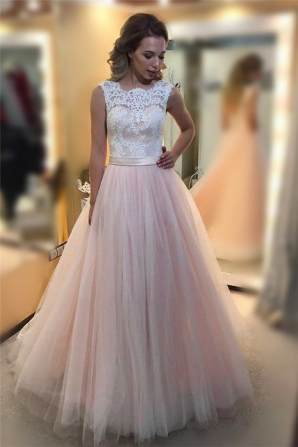 Glamorous Sheer Jewel Lace Appliques Prom Dresses | Sleeveless Evening Dresses with Ribbon