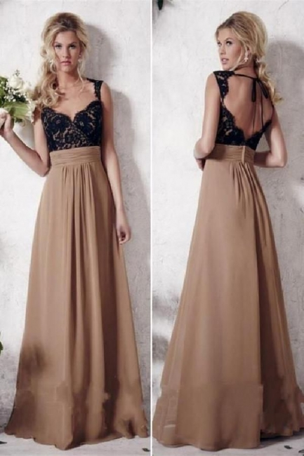 Glamorous Lace Appliques Straps Prom Dresses |Simple Backless Sleeveless Evening Dresses